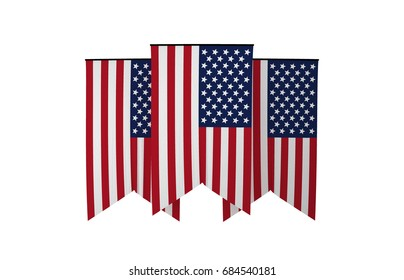 American Flag, Floating Fabric Flag, America, United States of America, 3D Render
