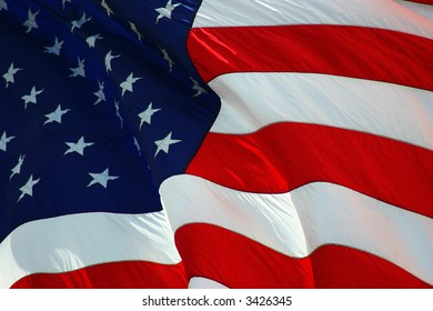 American Flag flowing, Fourth of July