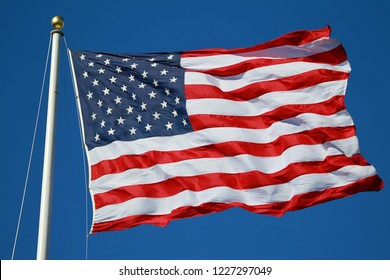 American Flag Fluttering in the Air
