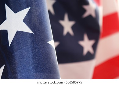 The American flag flutters in the wind.The Flag Of The United States Of America. The place to advertise, template.