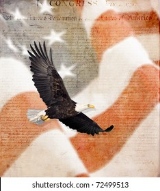 American Flag, flying bald Eagle,and Constitution montage