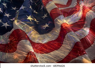 American Flag, flying fireworks and Constitution montage