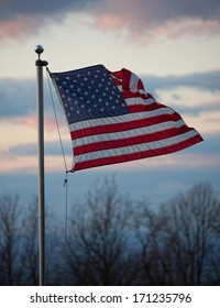 American flag flying high above the Shenandoah Valley in Virginia