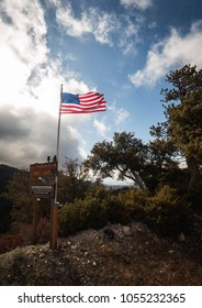 American flag flying high in the mountains in Angeles crest California