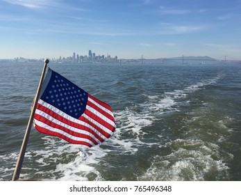 American Flag Flying on Boat in San Francisco Bay | 4th of July | Independence Day