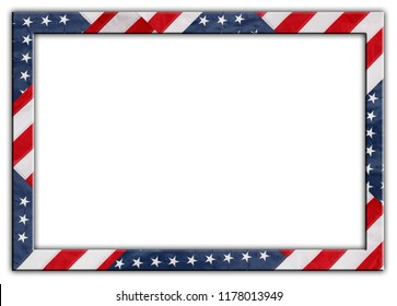 American flag frame border on white