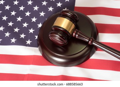 American flag and a gavel
