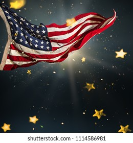 American flag with gold shining stars. National days concept.