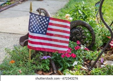 American Flag in Green Garden for 4th of July