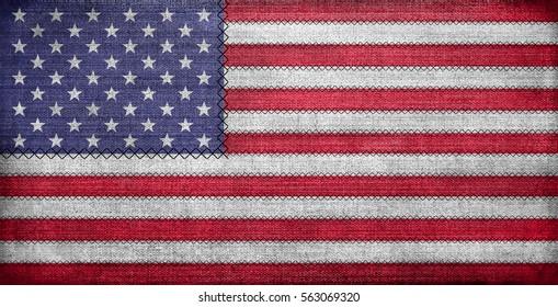 American flag, grunge on fabric