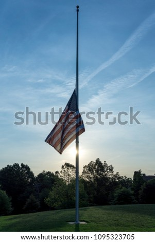 An American Flag at Half Staff