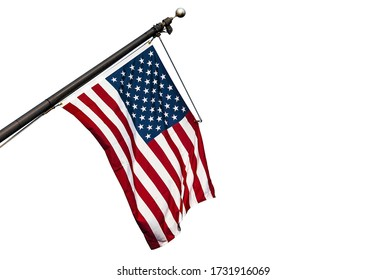American flag hanging on a flagpole, USA flag isolated on white background, high resolution picture