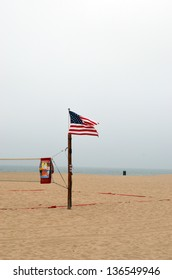 The American flag hanging over Hermosa Beach, California