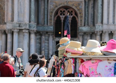 American flag and hats. Piazza San Marco, Venice May 26, 2016