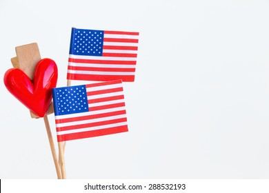 American flag and heart for 4th, july on white background