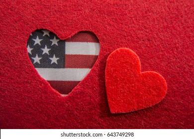 American flag in heart photo image sign. red heart background. heart with american flag colors and symbol