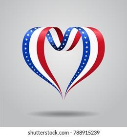 American flag heart-shaped wavy ribbon. Raster version.