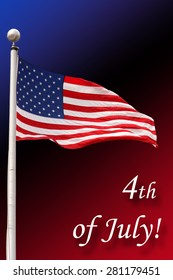 American flag isolated against a blue, black and red background