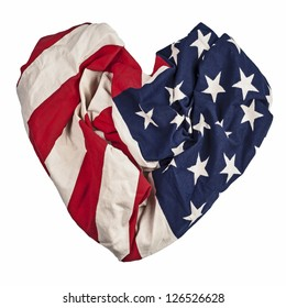 American flag isolated on white background, heart shape, fourth of July  Independence Day