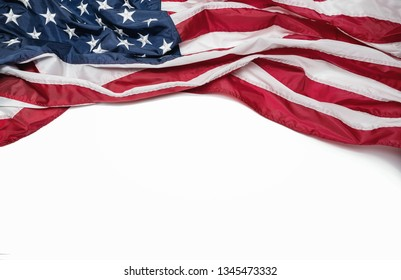 American flag isolated on white background with copy space