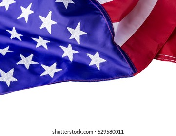 American flag isolated on white background with clipping path