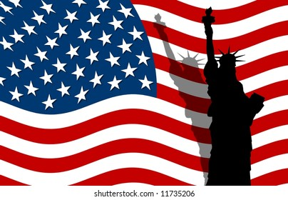 american flag and lady liberty