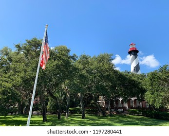 American Flag and Lighthouse