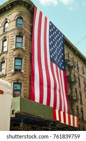 American flag at Little Italy New york
