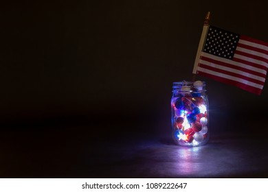 American Flag in mason jar with lights