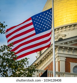 The American flag at the Massachusetts State House