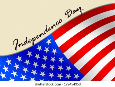 American flag with massage Independence day.