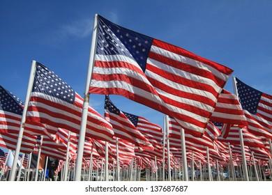 American flag memorial on the Oregon Coast