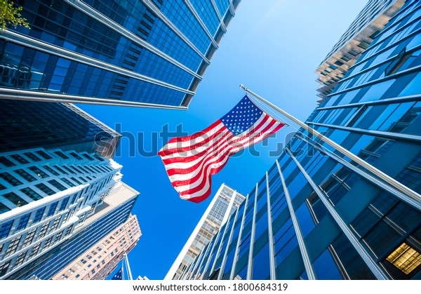 American flag and Modern buildings