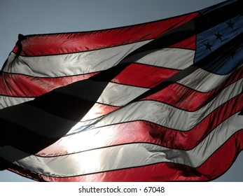 American flag moved by the wind