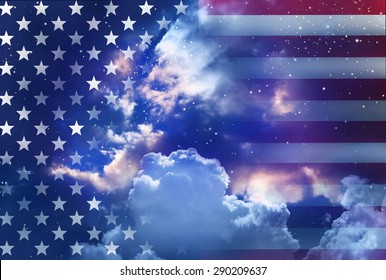 American flag with night sky background.