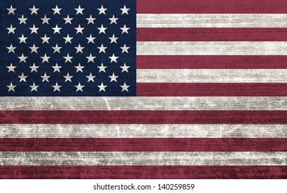American flag with old fabric texture - illustration