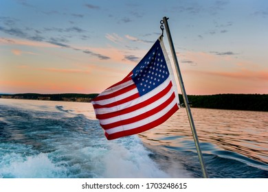 American flag on the back of a boat on Lake Superior.