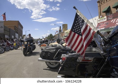 American Flag on the back of a motorcycle parked on Main Street at the 67th Annual Sturgis Motorcycle Rally, Sturgis, South Dakota, August 6-12, 2007