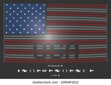 American flag on a black background in the ascii style of a pixel font on an old monitor