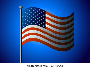 American flag on a blue background.