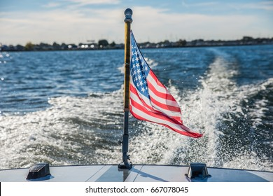 American flag on a boat