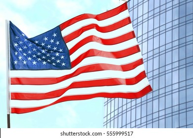 American flag on building background