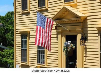 American flag on a building in Providence, Rhode Island.