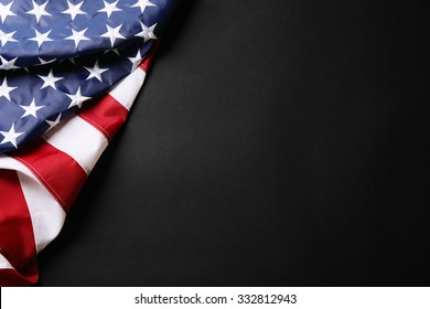 American flag on dark background