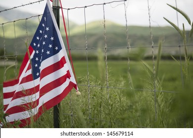 American flag on fence