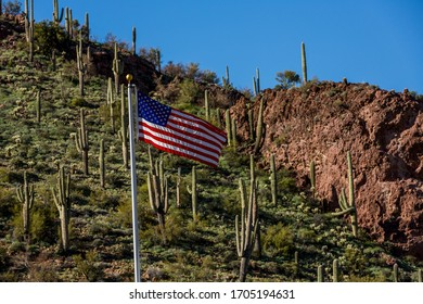 American flag on a hill in Arizona with a background of saguaro cactus