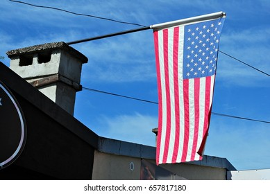 American flag on a house
