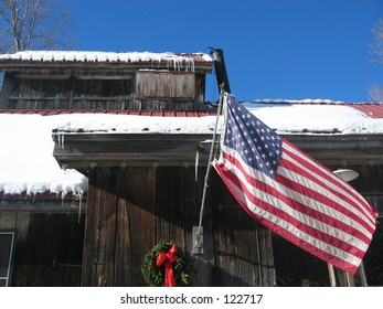 American flag on house, Vermont.