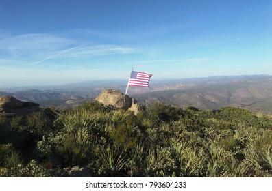 American flag on a mountain top, San Diego, CA