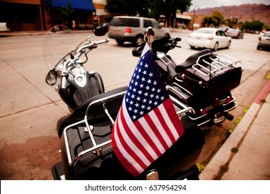 american flag on parked motorcycle